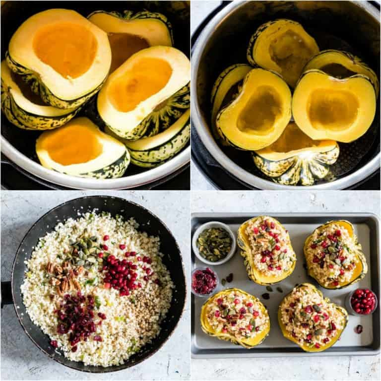 image collage showing the steps for making instant pot stuffed squash