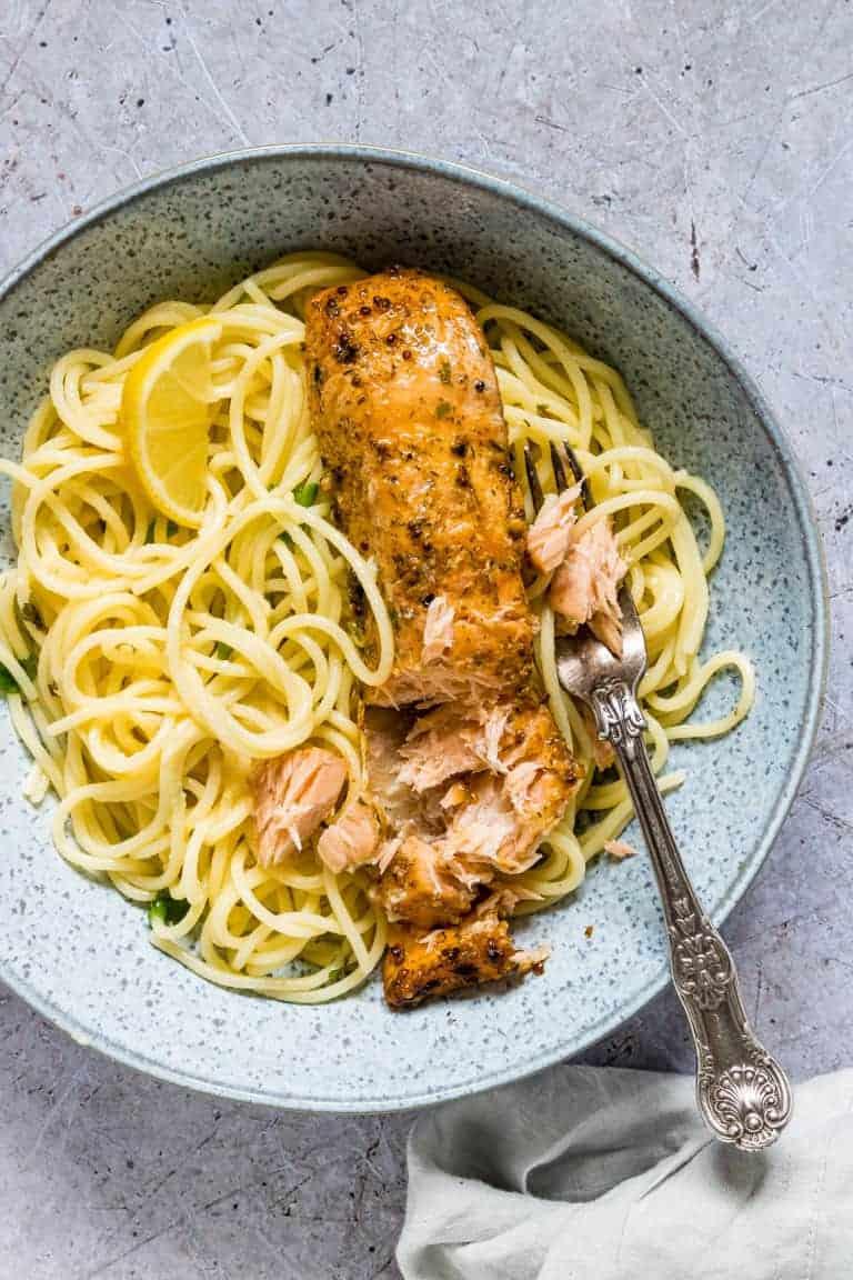 A bowl of lemon butter salmon pasta