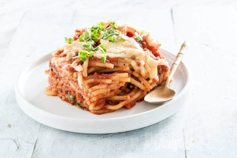 close up of slow cooker spaghetti casserole recipe