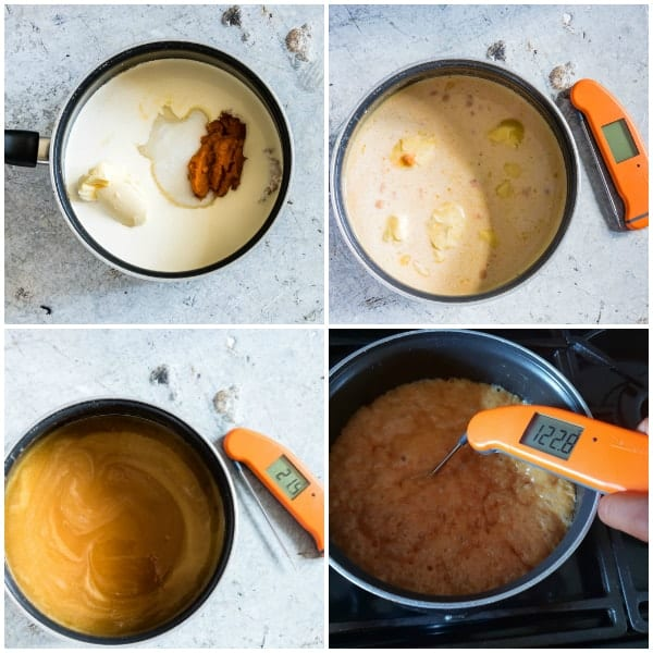 collage of four step by step photos to make pumpkin salted caramels