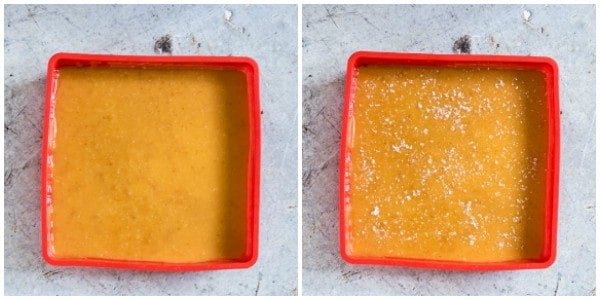 two side by side trays containing pumpkin salted caramels