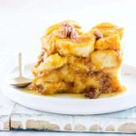 a plate of slow cooker bread pudding
