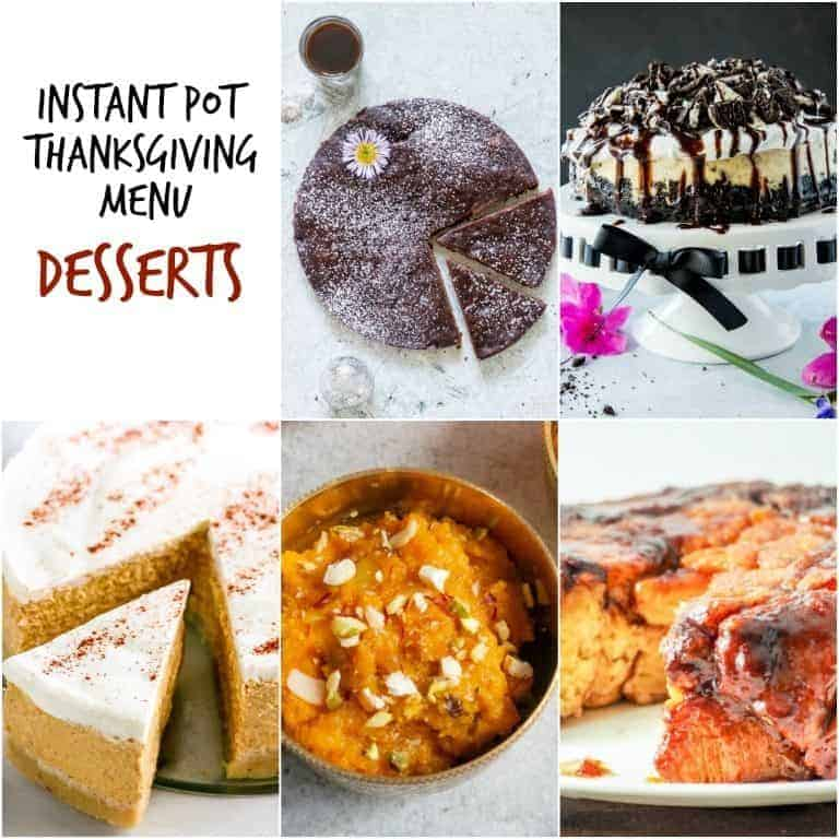 Image collage of the desserts included in the Instant Pot Thanksgiving Recipes Menu