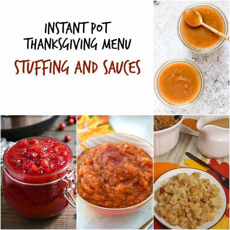 Image collage of the stuffing and sauces included in the Instant Pot Thanksgiving Recipes Menu
