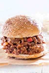 Close-up of one serving of Instant Pot Sloppy Joes r