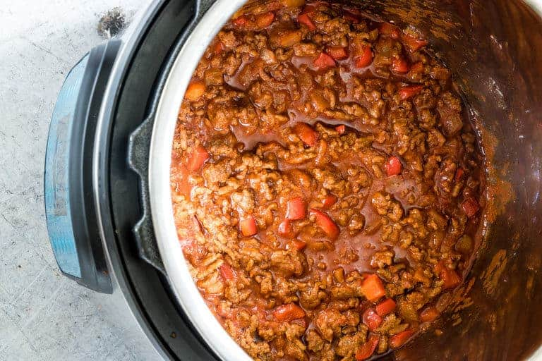 The cooked Instant Pot Sloppy Joes mixture inside the instant pot