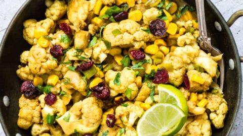 Easy One Pan Cauliflower Curry {Air Fryer or Stove Top, Vegan, Gluten-free}