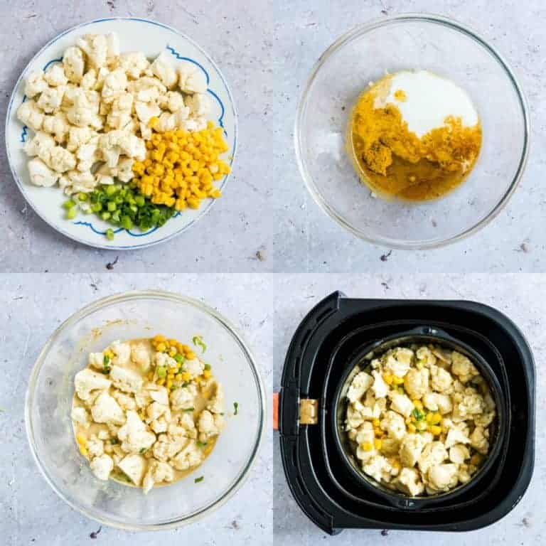 collage of the steps to make cauliflower curry