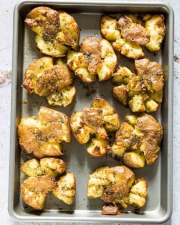 Tray of garlic smashed potatoes