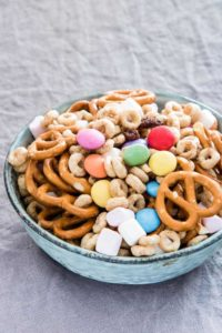 a bowl of sweet and salty snack mix