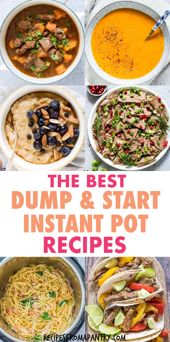 A COLLAGE OF IMAGES OF INSTANT POT MEALS