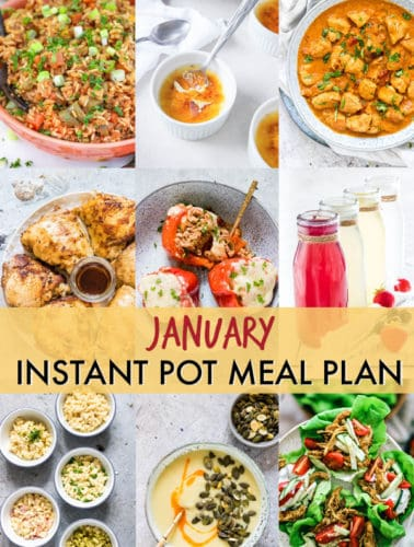 image collage showing some of the featured recipes in the January Instant Pot Meal Plan