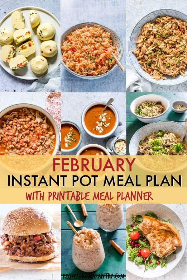 image collage showing some of the recipes included in the Instant Pot February Meal Plan