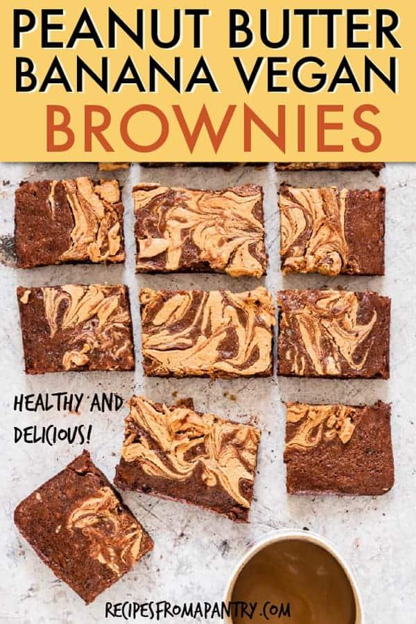 Peanut butter banana vegan brownies