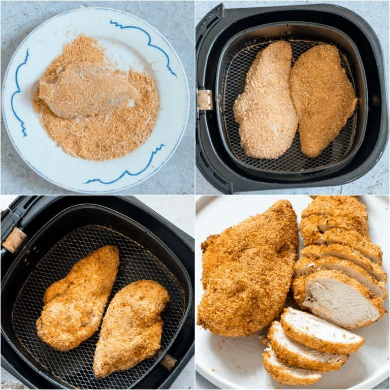 image collage showing the steps for making Air Fryer Chicken Breast