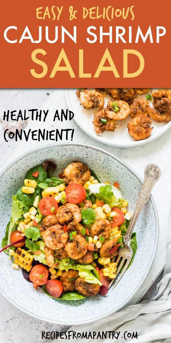 Healthy and convenient Cajun Shrimp Salad served in a blue bowl