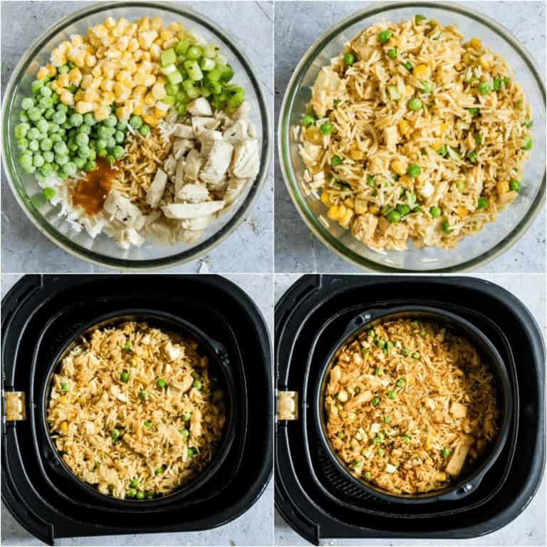image collage showing the steps for making air  fryer fried rice