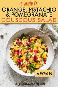 Orange pomegranate pistachio couscous salad