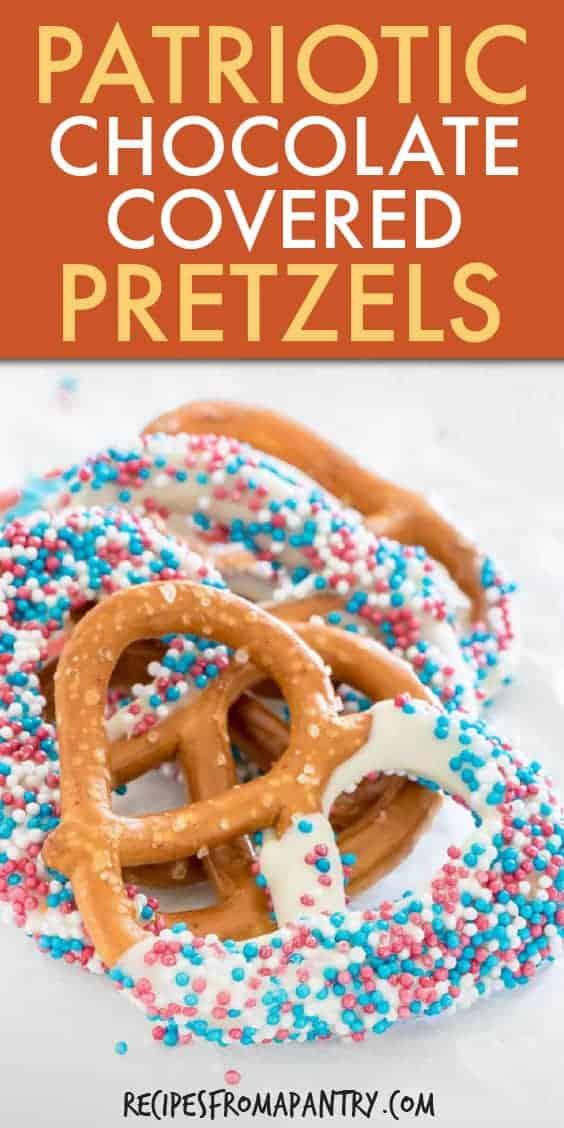 PATRIOTIC CHOCOLATE COVERED PRETZELS