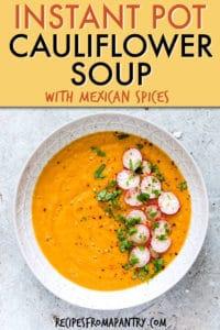 instant pot mexican cauliflower soup
