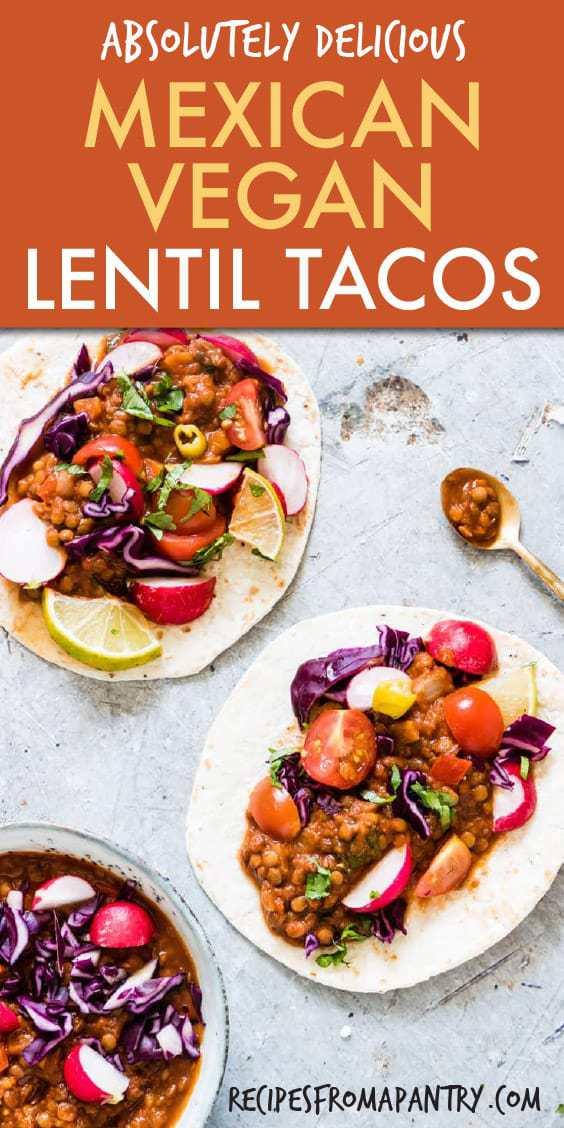 mexican vegan lentil tacos