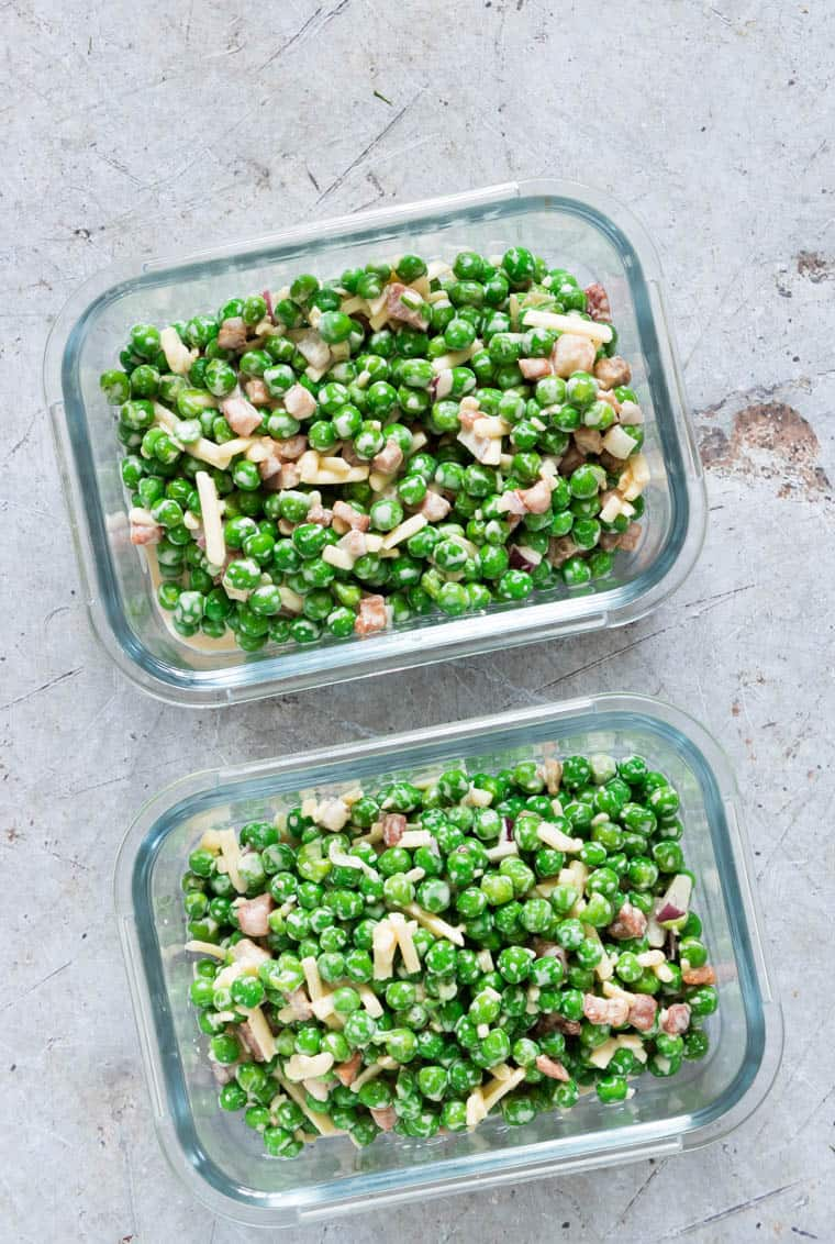 pea salad in two glass meal storage containers