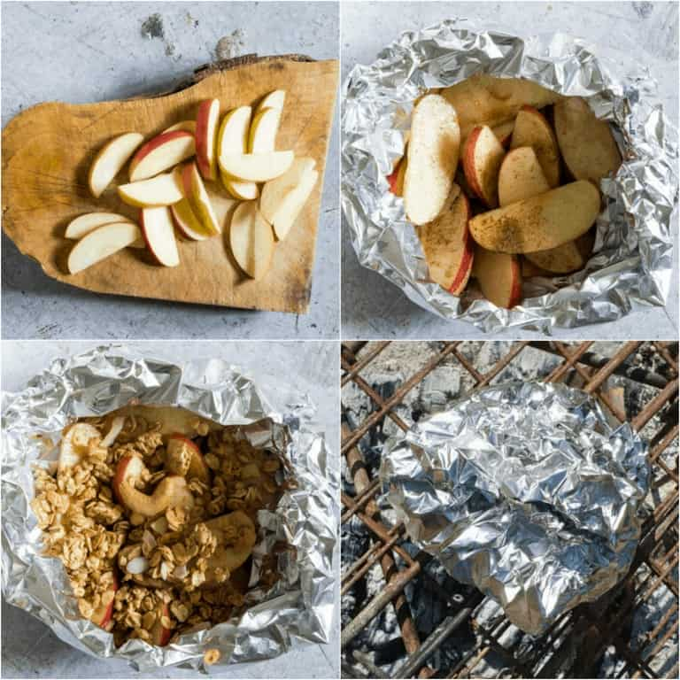 image collage showing the steps for making campfire apple crisp foil packs