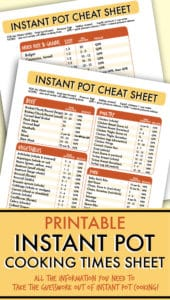 instant pot cooking times cheat sheet
