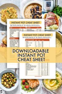 instant pot cooking cheat sheet