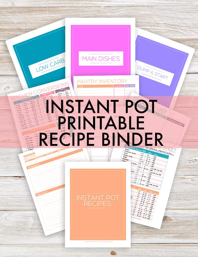instant pot recipes binder printables