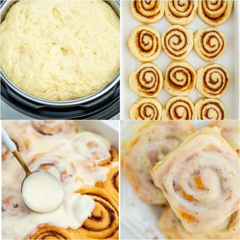 image collage showing the steps for making Instant Pot Cinnamon Rolls.