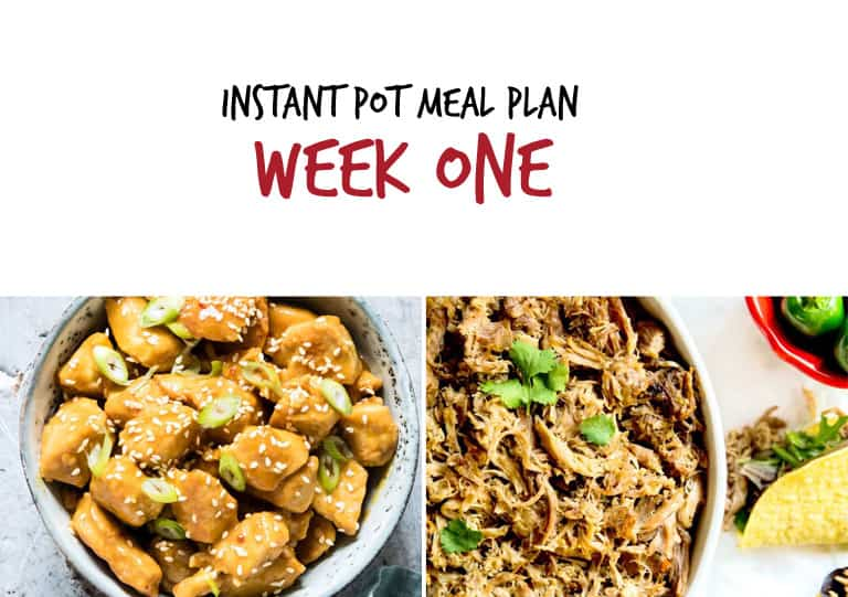 September Instant Pot Meal Plan week one main dishes