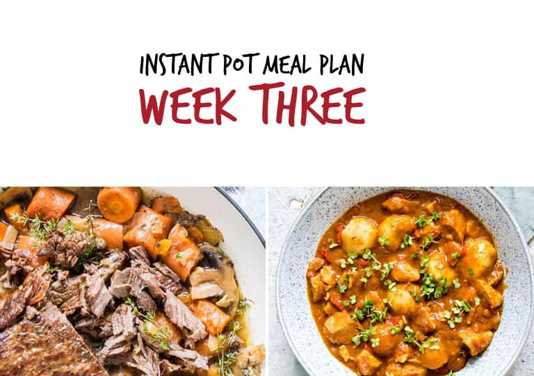 September Instant Pot Meal Plan week 3 main dishes