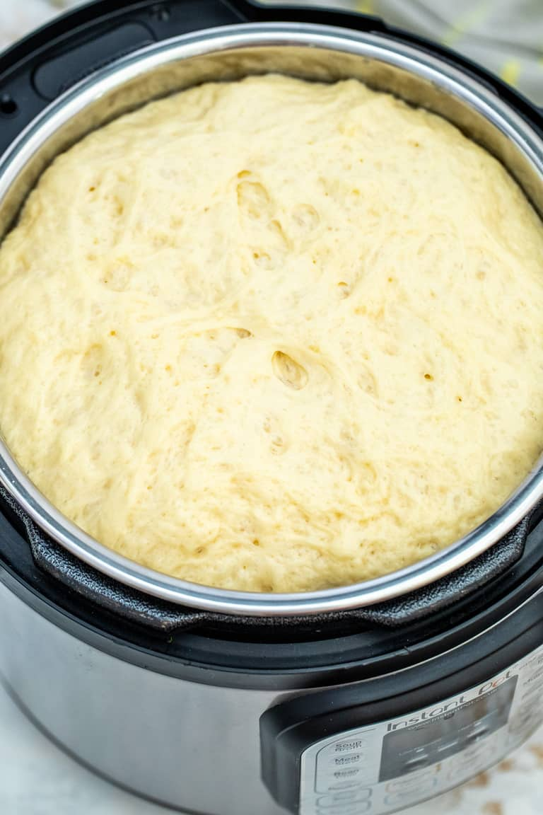 proofed dough inside the Instant Pot