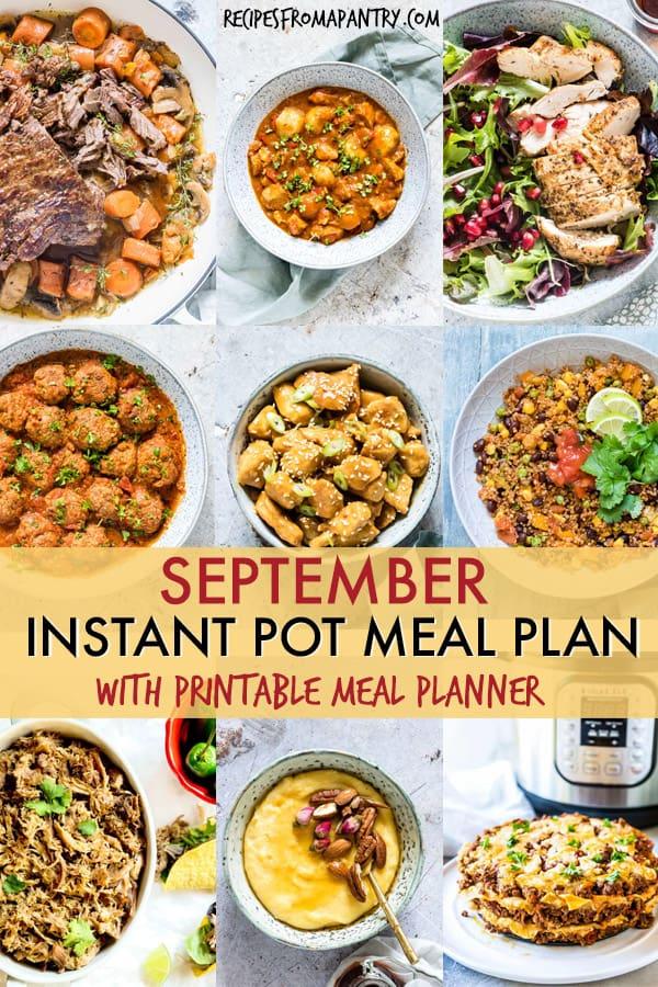 September Instant Pot Meal Plan