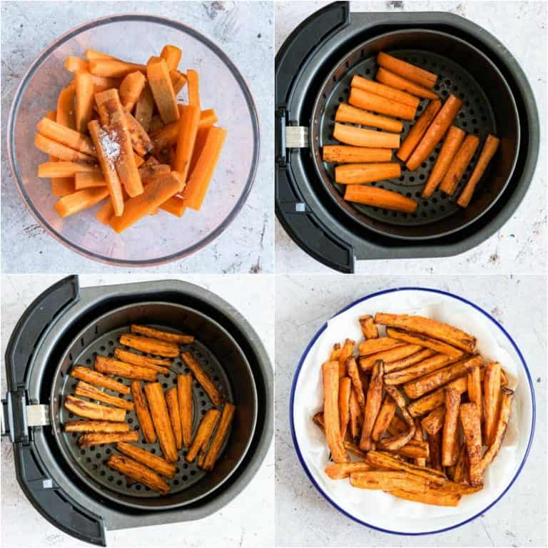 image collage showing the steps for making air fried carrot fries