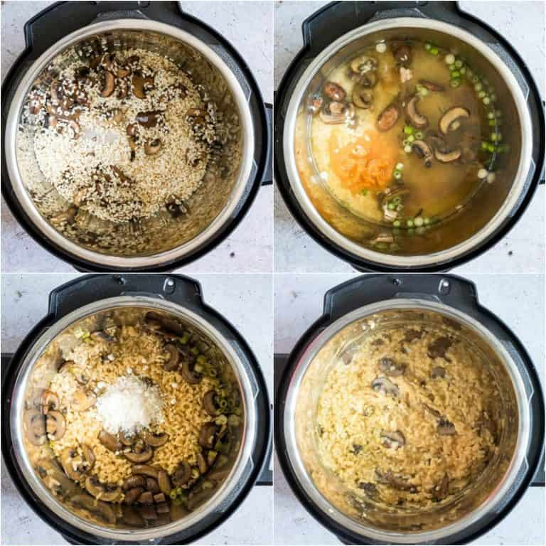 image collage showing the steps for making pressure cooker risotto with mushrooms and pumpkin