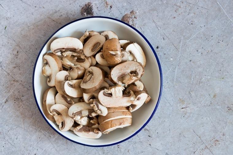 bowl of sliced mushrooms