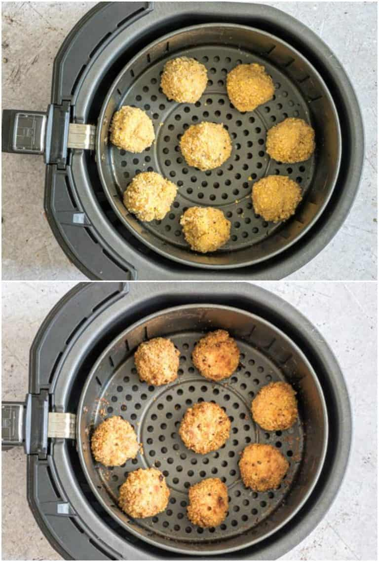 steps for cooking mac and cheese balls in air fryer