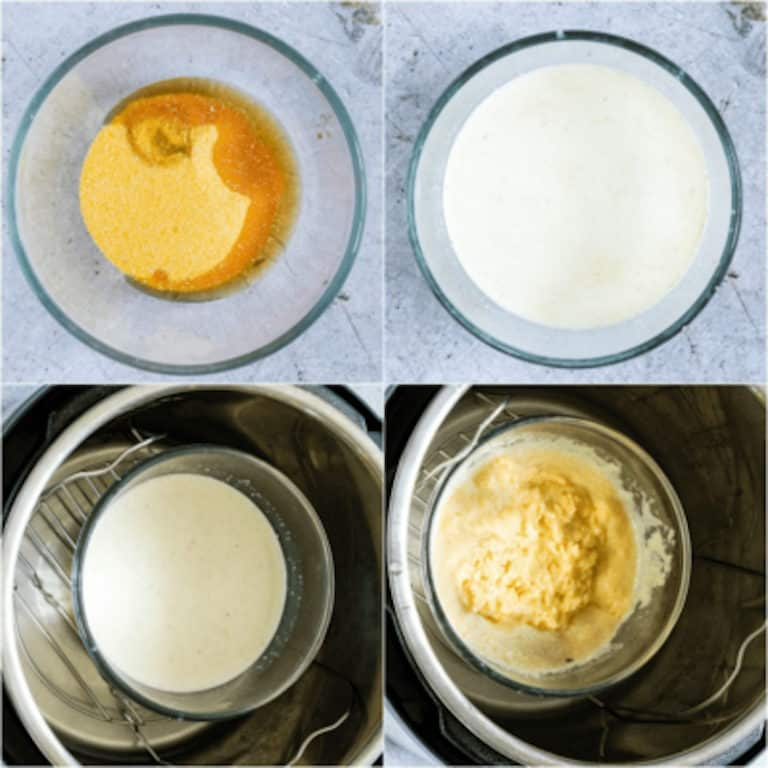 image collage showing the steps for making polenta porridge