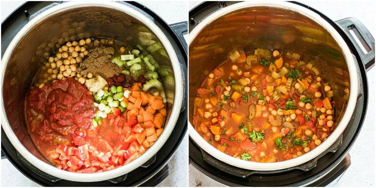 image collage showing steps for making Instant Pot Chickpea Stew
