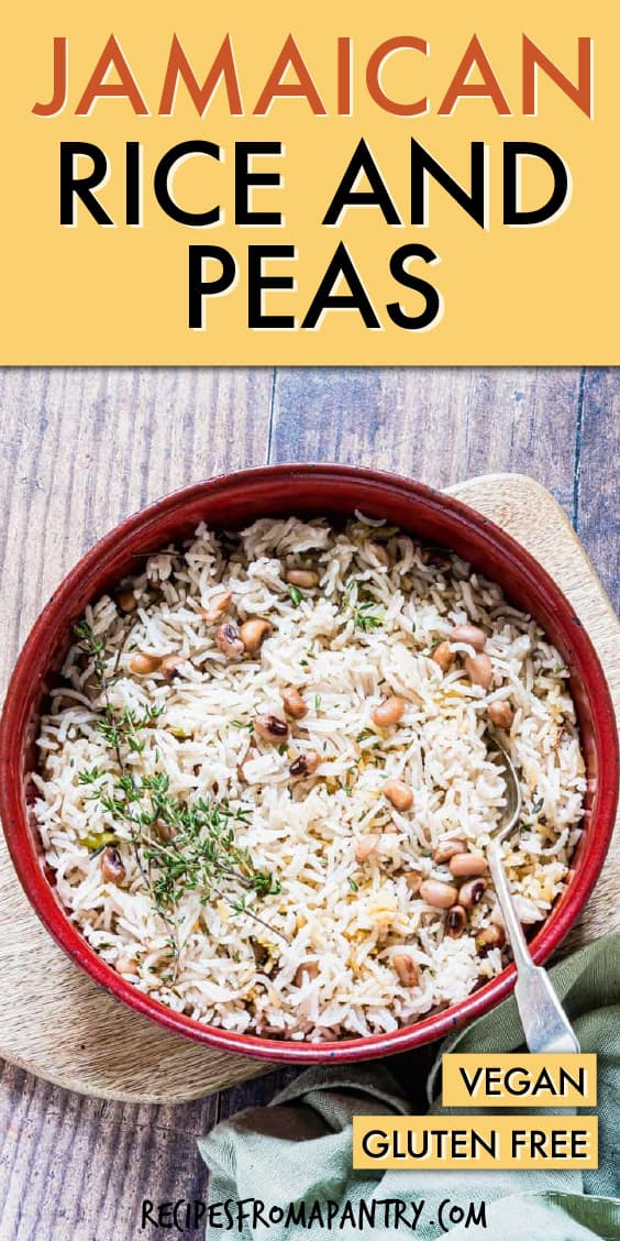 easy Jamaican Rice and Peas in a bowl with a spoon