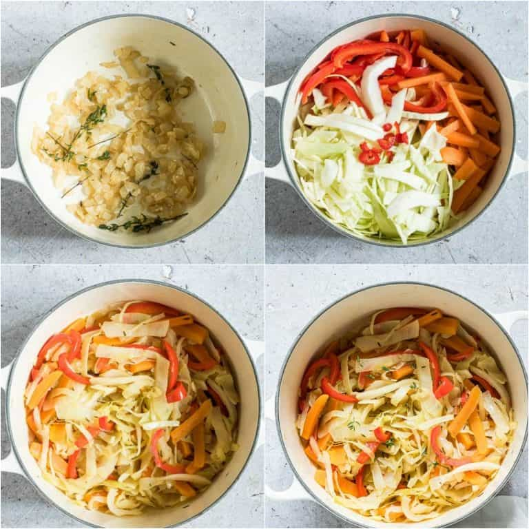 image collage showing the steps for making Jamaican Cabbage