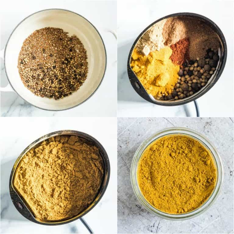 image collage showing the steps for making Jamaican curry powder