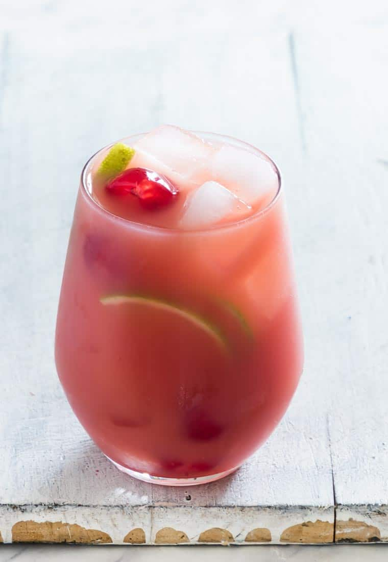 close up view of a glass filled with Jamaican rum punch