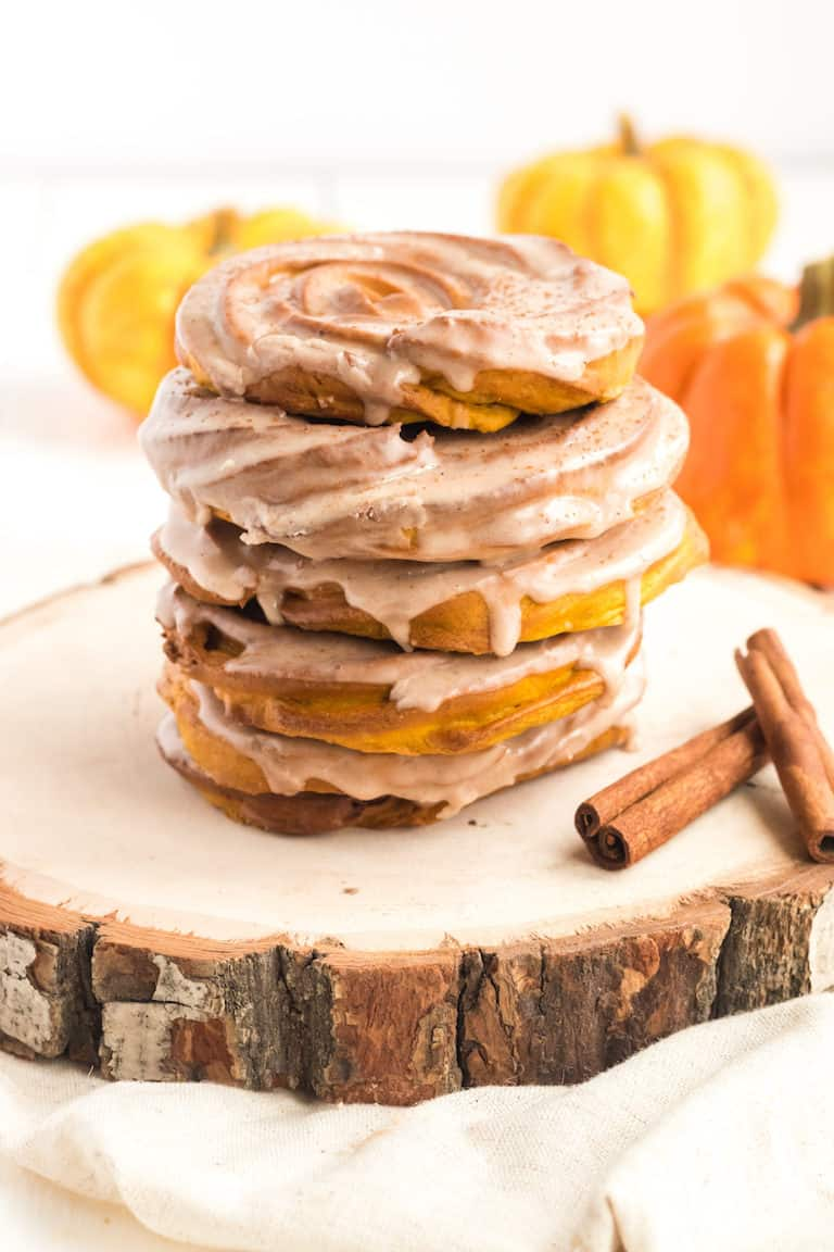 a stack of air fryer pumpkin spiced crullers