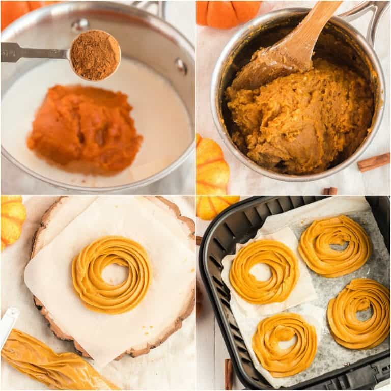 image collage showing the first of the steps for making air fryer pumpkin spiced crullers
