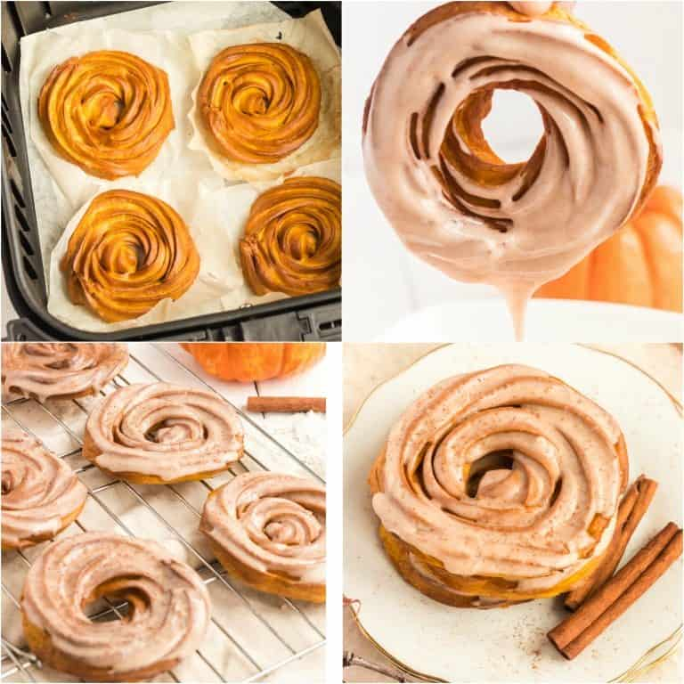 image collage showing the last of the steps for making air fryer pumpkin pie spiced crullers