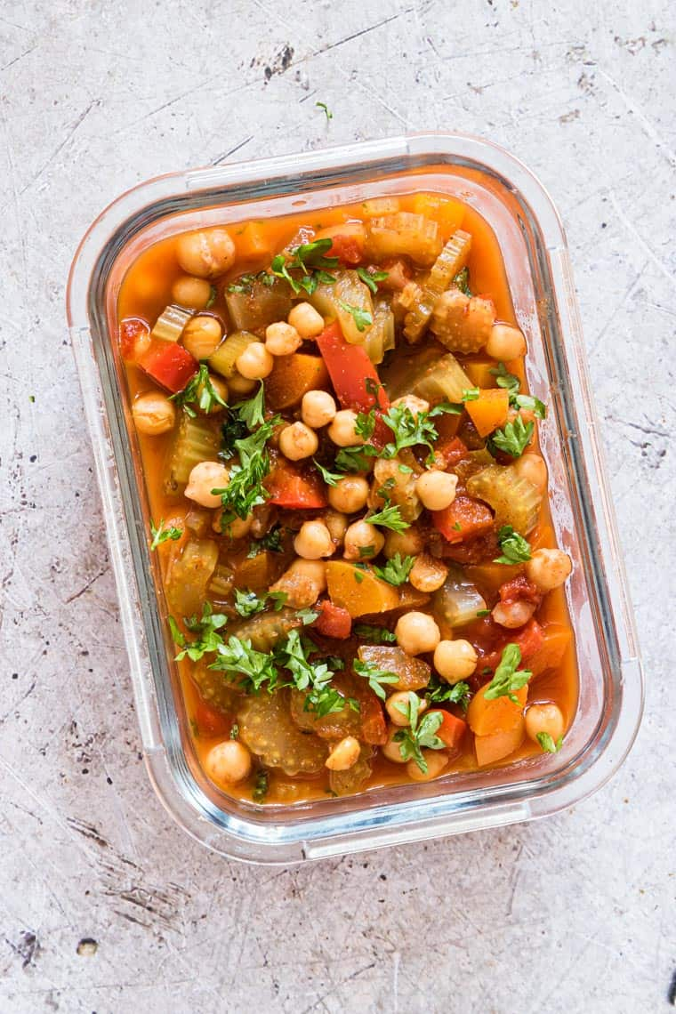 glass meal prep container filled with instant pot chickpea stew