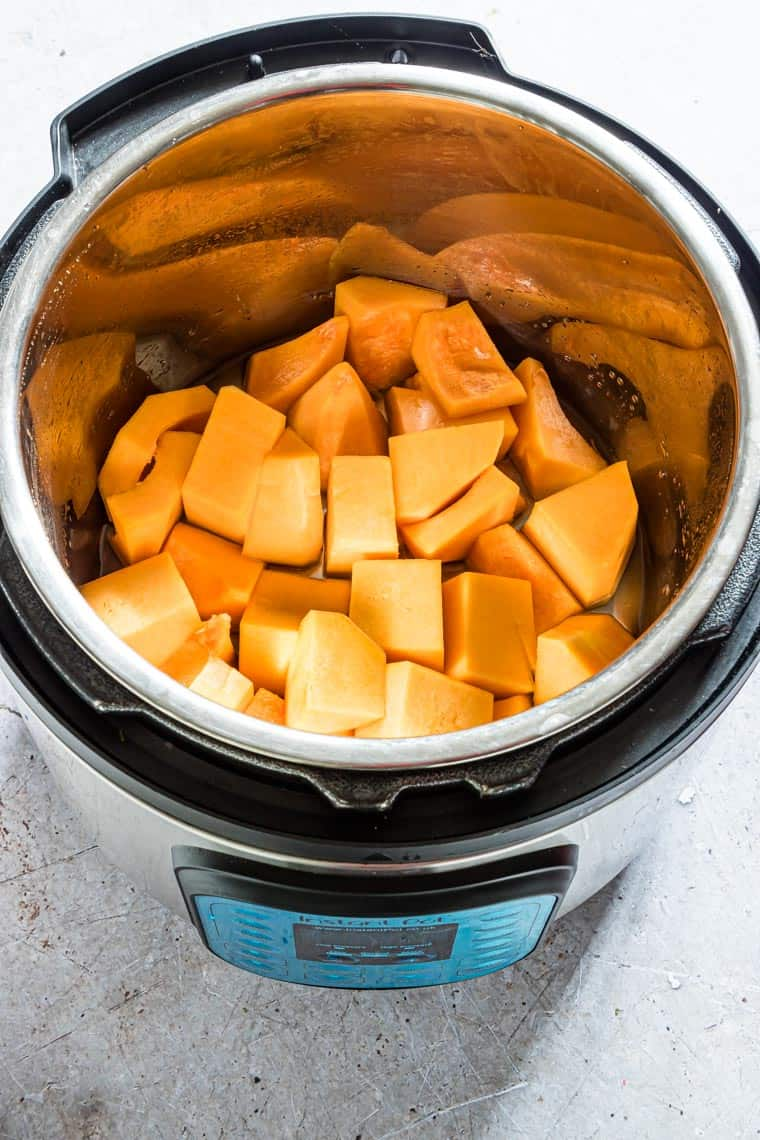 cubed butternut squash inside the instant pot